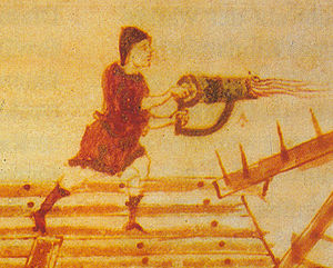 Anna - One of my countrymen using Greek fire on the enemies of the Empire. Take that, filthy barbarians!