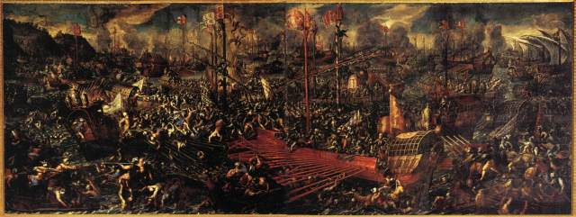 This painting in the Doge's palace gives an idea of the chaos and insanity that defined the battle.