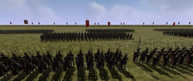 This is what the Roman army would look like in battle. No, hiding behind rocks and bushes.  No hit and run ambushes for them.