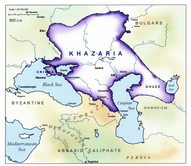 There is is. Pretty big.  It was sandwhiched between Russia, Byzantium and the Islamic Empire.  Not a safe place to be.