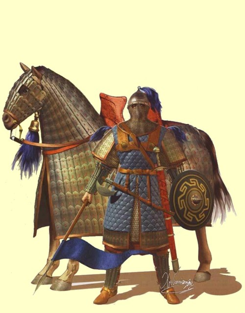 A Byzantine Cataphract in full, multi-layered armor. Felt, lamallar/scale, and chainmail beneath. He was as armored as you got without using plate.