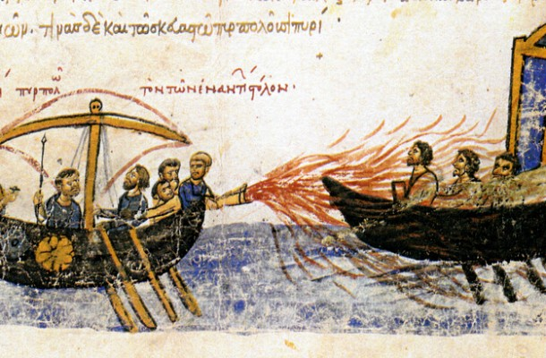 The Byzantines used a cheat code and got flamethrowers and laser bears.