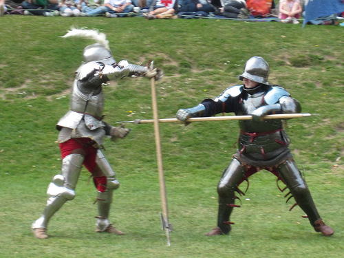 No Medieval tale is complete without guys in armor beating each other up.