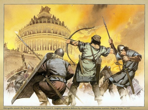 The Goths attacking the Castile D' San Angelo, which used to be Hadrian's tomb but was turned into a fort. You can go to Rome and see the walls themselves, still intact after 1,500 years.