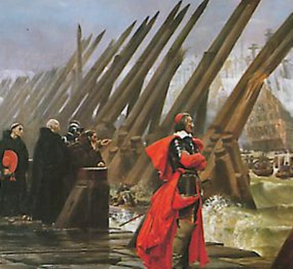 Cardinal Richelieu at the siege of La Rochelle. He wasn't king, but he basically ran everything. He's not impressed with the rebels.