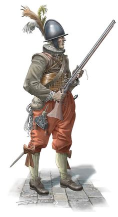 They had arquebuses with heavy armor, powder charges and uniforms.