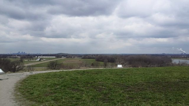 Here's Zach's picture from the top of Monk's Mound. You can see St. Louis in the distance. Look close and you can see the arch. The mound is surprisingly tall.