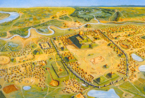 The different neighborhoods were organized by large clans. Rich people had their large houses on mounds. Other mounds served other purposes. (More on that later.)
